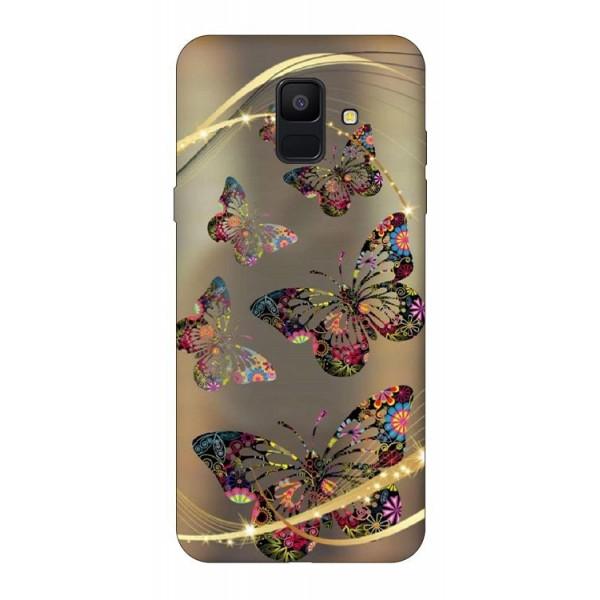 Husa Silicon Soft Upzz Print Samsung A6 2018 Model Golden Butterfly imagine itelmobile.ro 2021