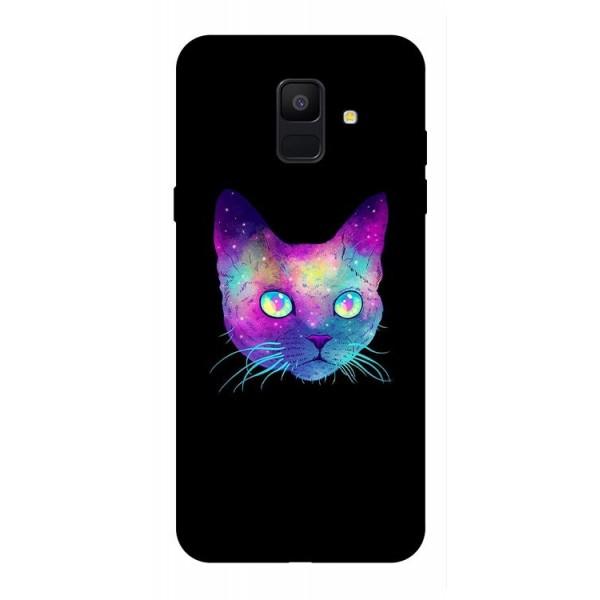 Husa Silicon Soft Upzz Print Samsung A6 2018 Model Neon Cat imagine itelmobile.ro 2021