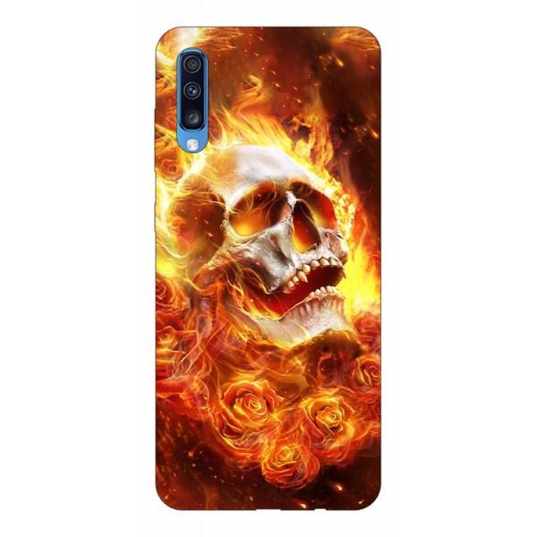 Husa Silicon Soft Upzz Print Samsung A70 Model Flame Skull imagine itelmobile.ro 2021