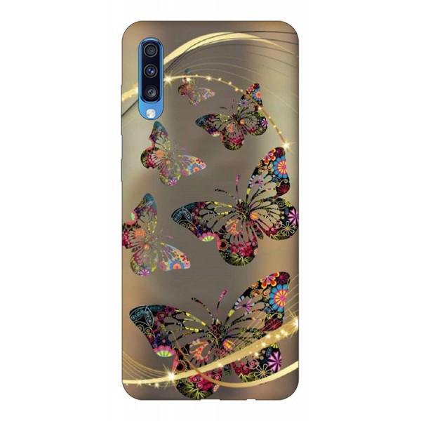 Husa Silicon Soft Upzz Print Samsung A70 Model Golden Butterfly imagine itelmobile.ro 2021