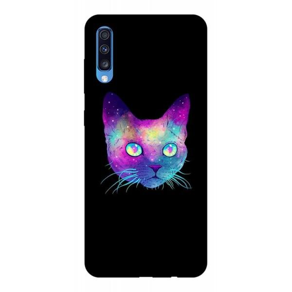 Husa Silicon Soft Upzz Print Samsung A70 Model Neon Cat imagine itelmobile.ro 2021