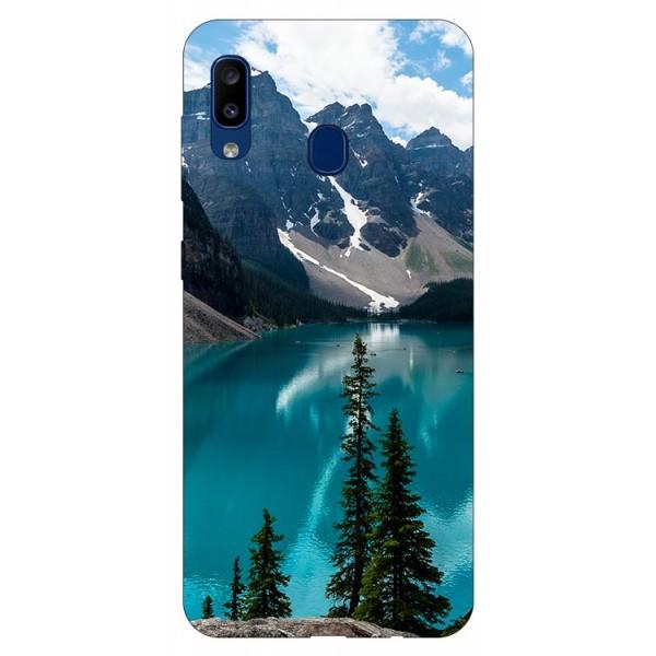 Husa Silicon Soft Upzz Print Samsung Galaxy A20 Model Blue imagine itelmobile.ro 2021
