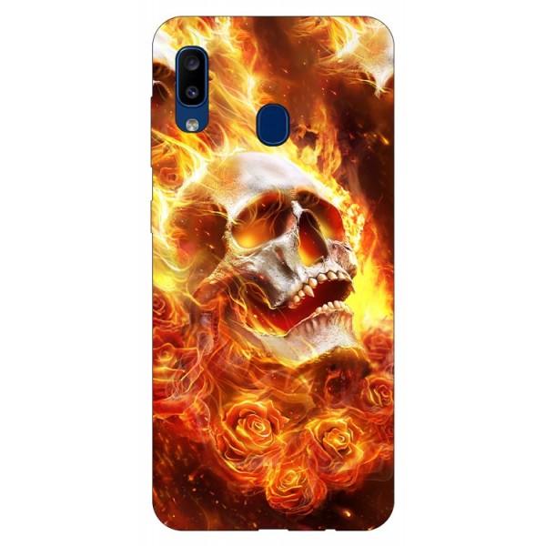 Husa Silicon Soft Upzz Print Samsung Galaxy A20 Model Flame Skull imagine itelmobile.ro 2021