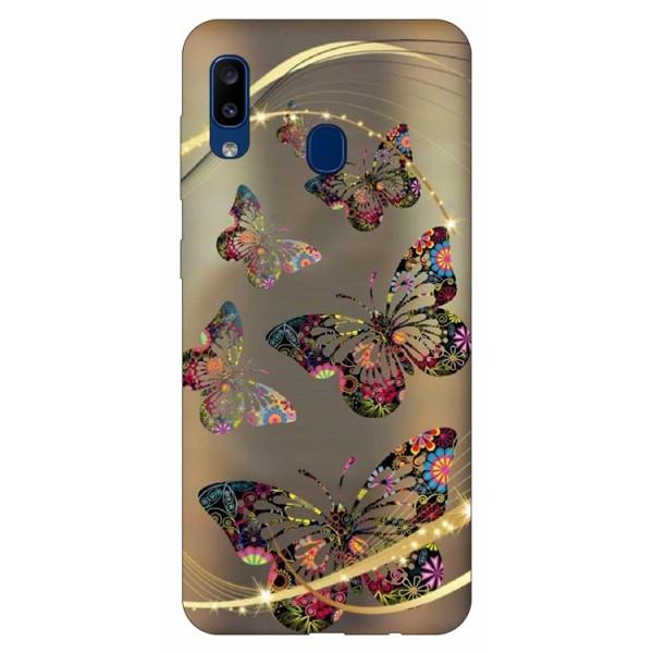 Husa Silicon Soft Upzz Print Samsung Galaxy A20 Model Golden Butterfly imagine itelmobile.ro 2021