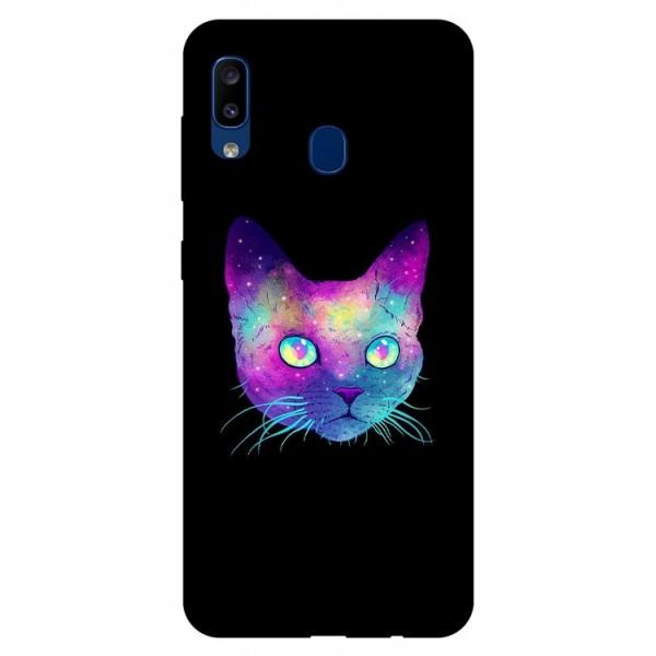 Husa Silicon Soft Upzz Print Samsung Galaxy A20 Model Neon Cat imagine itelmobile.ro 2021
