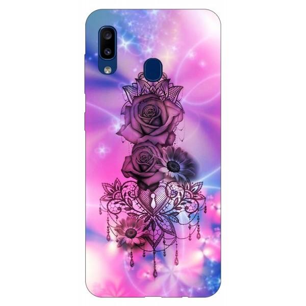 Husa Silicon Soft Upzz Print Samsung Galaxy A20 Model Neon Rose imagine itelmobile.ro 2021