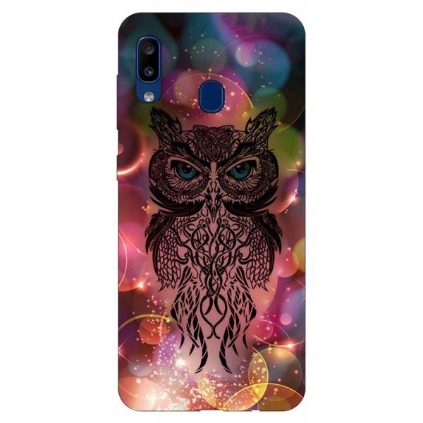 Husa Silicon Soft Upzz Print Samsung Galaxy A20 Model Sparkle Owl imagine itelmobile.ro 2021
