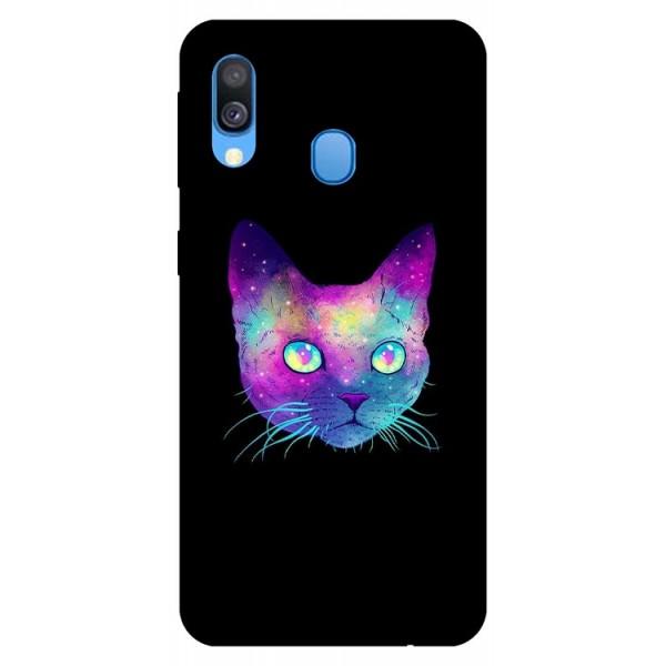 Husa Silicon Soft Upzz Print Samsung Galaxy A40 Model Neon Cat imagine itelmobile.ro 2021