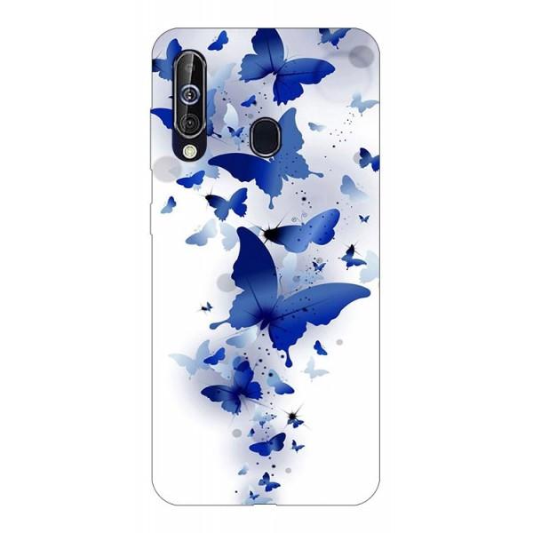 Husa Silicon Soft Upzz Print Samsung Galaxy A60 Model Blue Butterflies imagine itelmobile.ro 2021