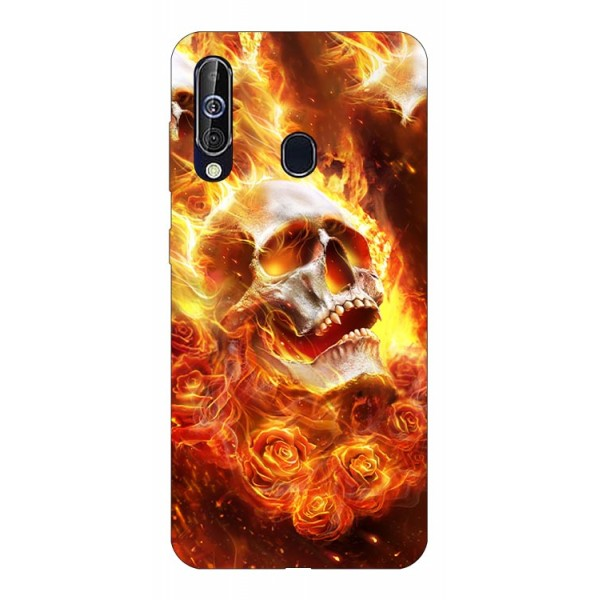 Husa Silicon Soft Upzz Print Samsung Galaxy A60 Model Flame Skull imagine itelmobile.ro 2021
