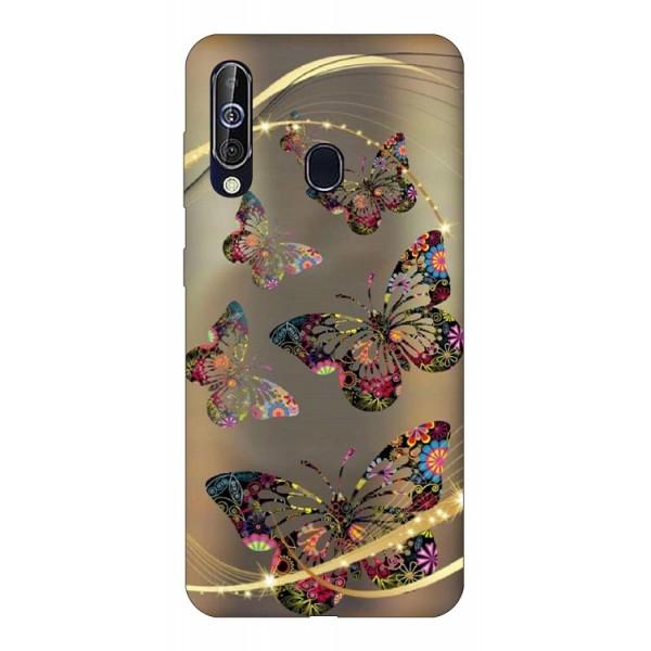 Husa Silicon Soft Upzz Print Samsung Galaxy A60 Model Golden Butterfly imagine itelmobile.ro 2021