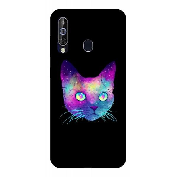Husa Silicon Soft Upzz Print Samsung Galaxy A60 Model Neon Cat imagine itelmobile.ro 2021