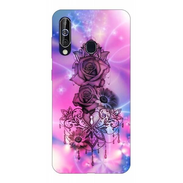 Husa Silicon Soft Upzz Print Samsung Galaxy A60 Model Neon Rose imagine itelmobile.ro 2021