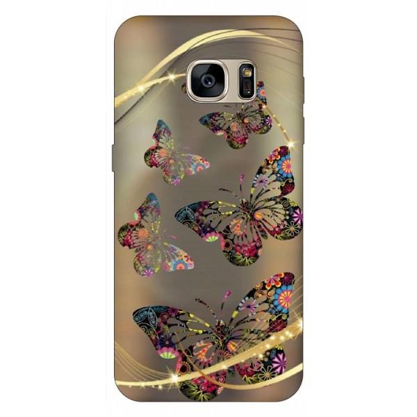Husa Silicon Soft Upzz Print Samsung S7 Model Golden Butterfly imagine itelmobile.ro 2021