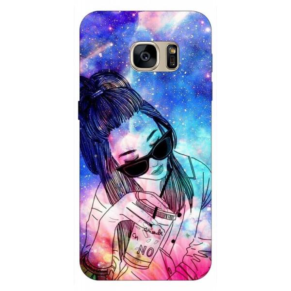 Husa Silicon Soft Upzz Print Samsung S7 Model Universe Girl imagine itelmobile.ro 2021