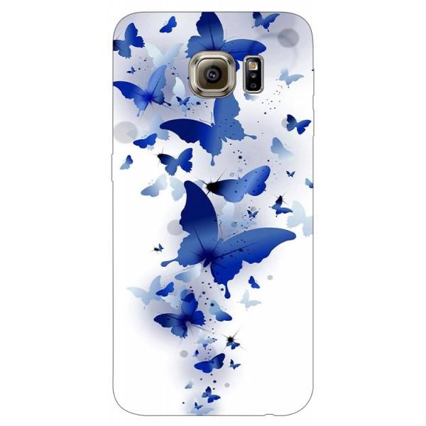 Husa Silicon Soft Upzz Print Samsung S6 Model Blue Butterflies imagine itelmobile.ro 2021