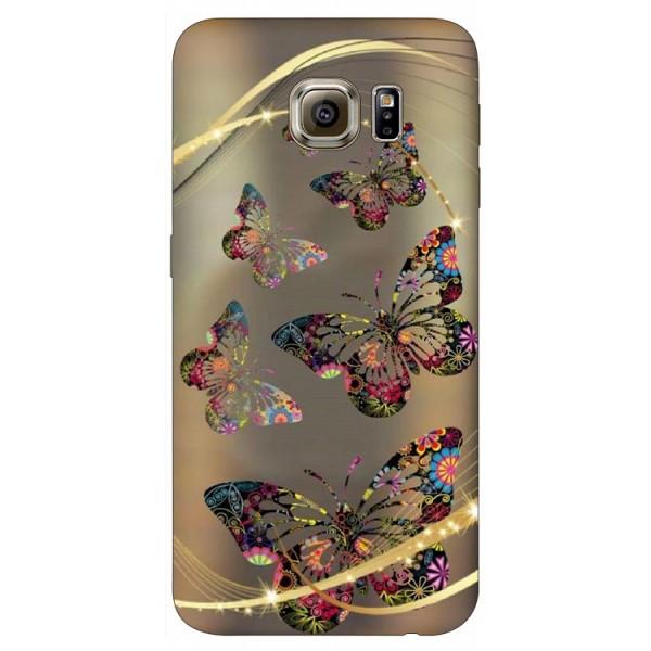 Husa Silicon Soft Upzz Print Samsung S6 Model Golden Butterfly imagine itelmobile.ro 2021