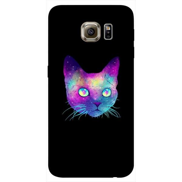 Husa Silicon Soft Upzz Print Samsung S6 Model Neon Cat imagine itelmobile.ro 2021
