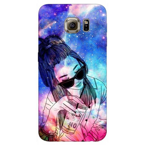 Husa Silicon Soft Upzz Print Samsung S6 Model Universe Girl imagine itelmobile.ro 2021