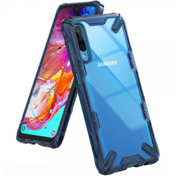 Husa Premium Ringke Fusion Samsung Galaxy A70 Transparenta Blue imagine itelmobile.ro 2021