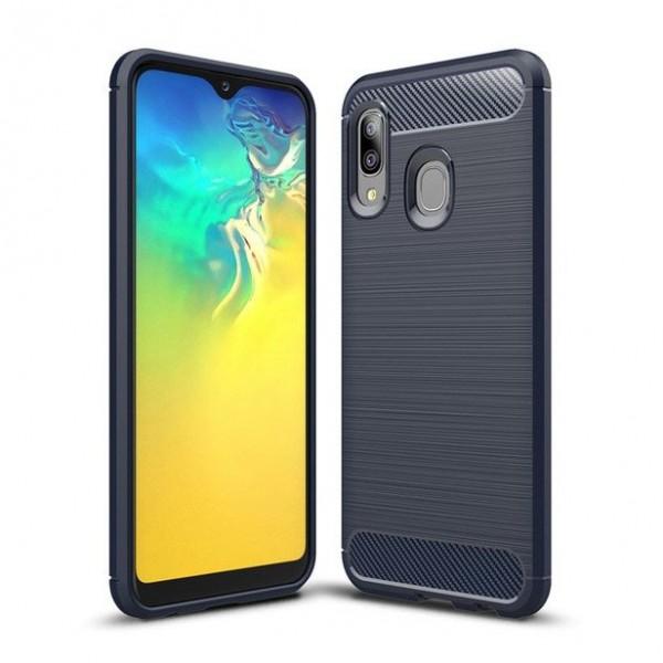 Husa Spate Upzz Carbon Fiber Samsung Galaxy A20e Albastru imagine itelmobile.ro 2021