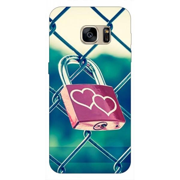 Husa Silicon Soft Upzz Print Samsung S7 Edge Model Heart Lock imagine itelmobile.ro 2021