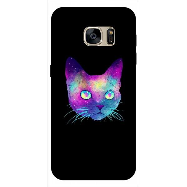 Husa Silicon Soft Upzz Print Samsung S7 Edge Model Neon Cat imagine itelmobile.ro 2021