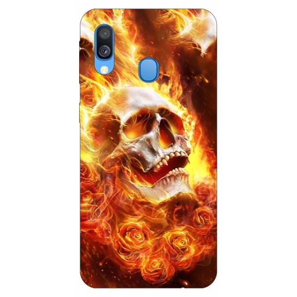 Husa Silicon Soft Upzz Print Samsung Galaxy A20e Model Flame Skull imagine itelmobile.ro 2021