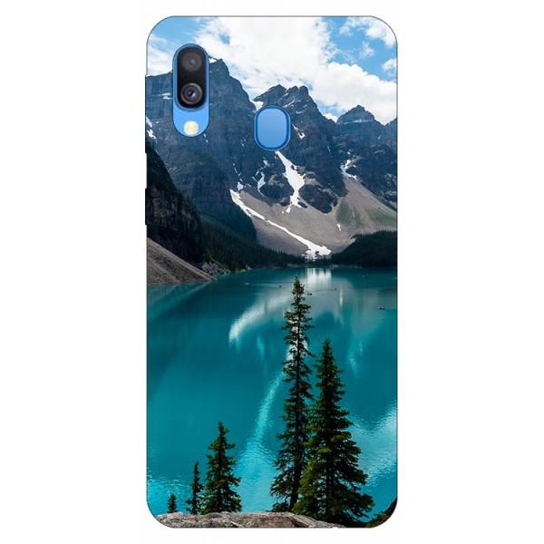 Husa Silicon Soft Upzz Print Samsung Galaxy A20e Model Blue imagine itelmobile.ro 2021