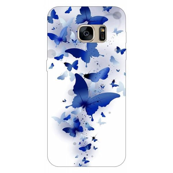 Husa Silicon Soft Upzz Print Samsung S7 Edge Model Blue Butterflies imagine itelmobile.ro 2021