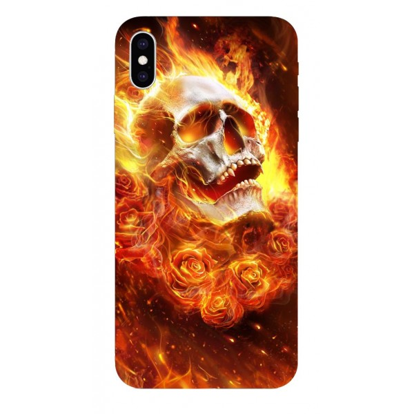 Husa Silicon Soft Upzz Print iPhone Xs Sau X Model Flame Skull imagine itelmobile.ro 2021