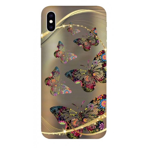 Husa Silicon Soft Upzz Print iPhone Xs Sau X Model Golde Butterfly imagine itelmobile.ro 2021