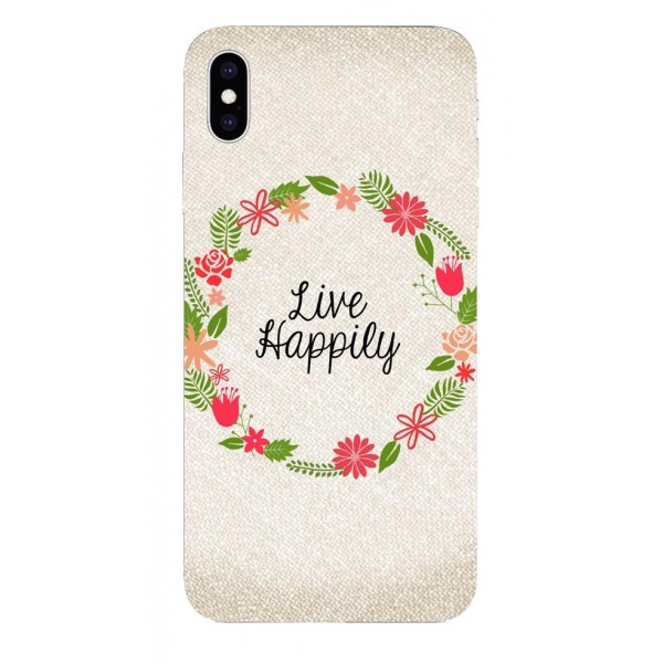 Husa Silicon Soft Upzz Print iPhone Xs Sau X Model Happily imagine itelmobile.ro 2021