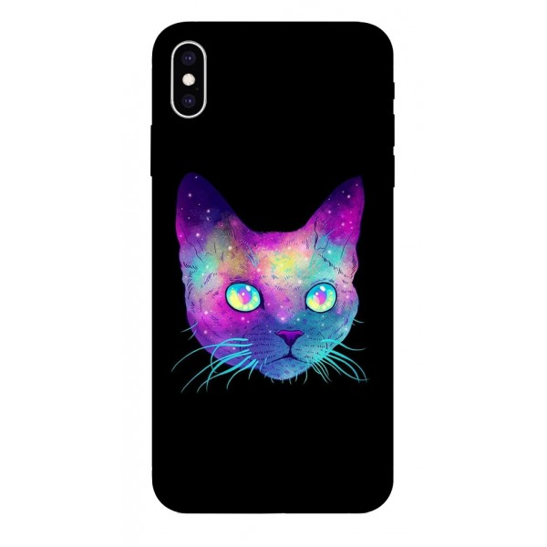 Husa Silicon Soft Upzz Print iPhone Xs Sau X Model Neon Cat imagine itelmobile.ro 2021