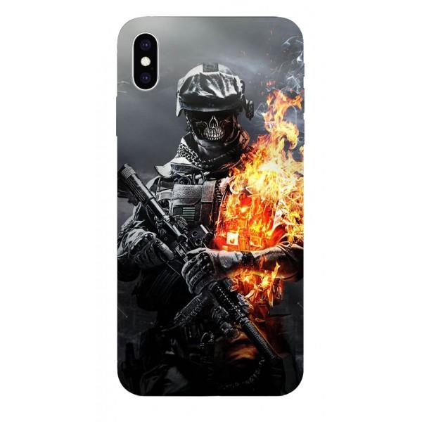 Husa Silicon Soft Upzz Print iPhone Xs Sau X Model Soldier imagine itelmobile.ro 2021