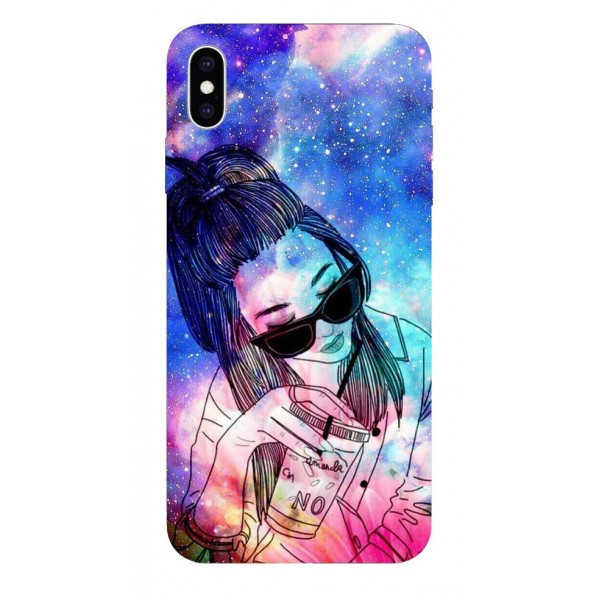 Husa Silicon Soft Upzz Print iPhone Xs Sau X Model Universe Girl imagine itelmobile.ro 2021