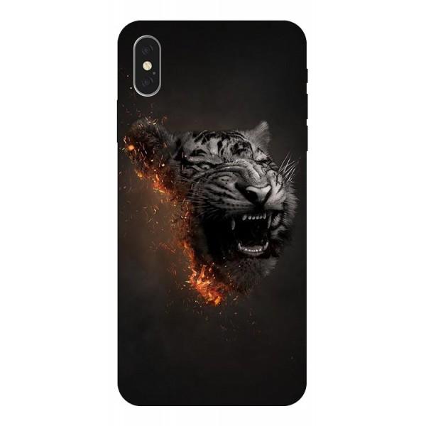 Husa Silicon Soft Upzz Print iPhone Xs Max Model Tiger imagine itelmobile.ro 2021