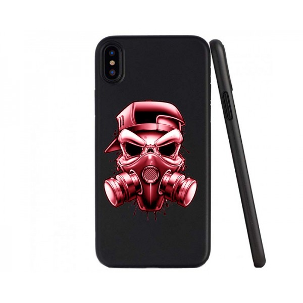 Husa Premium Upzz Print iPhone Xs Max Silicon Negru Matte - Gang imagine itelmobile.ro 2021