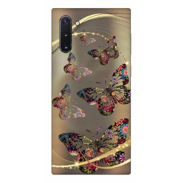Husa Premium Upzz Print Samsung Galaxy Note 10 Model Golden Butterfly imagine itelmobile.ro 2021