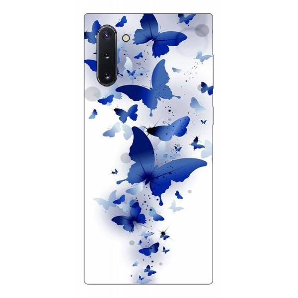 Husa Premium Upzz Print Samsung Galaxy Note 10 Model Blue Butterflyes imagine itelmobile.ro 2021