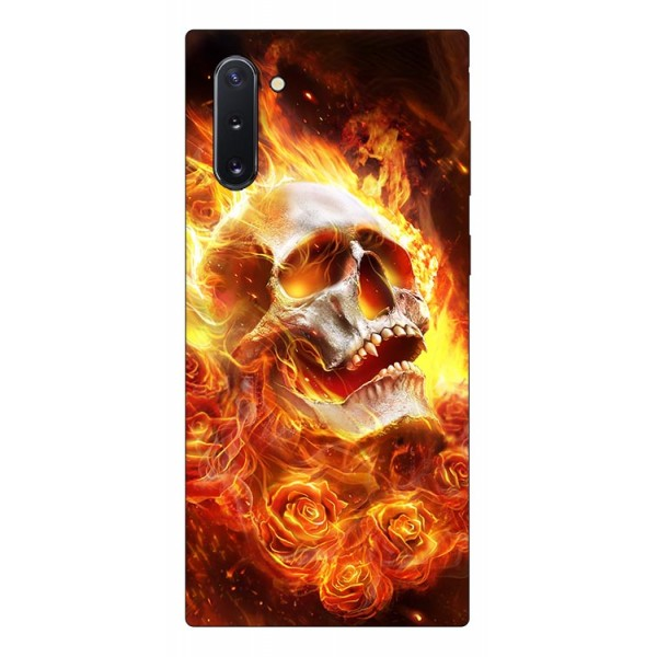 Husa Premium Upzz Print Samsung Galaxy Note 10 Model Flame Skull imagine itelmobile.ro 2021