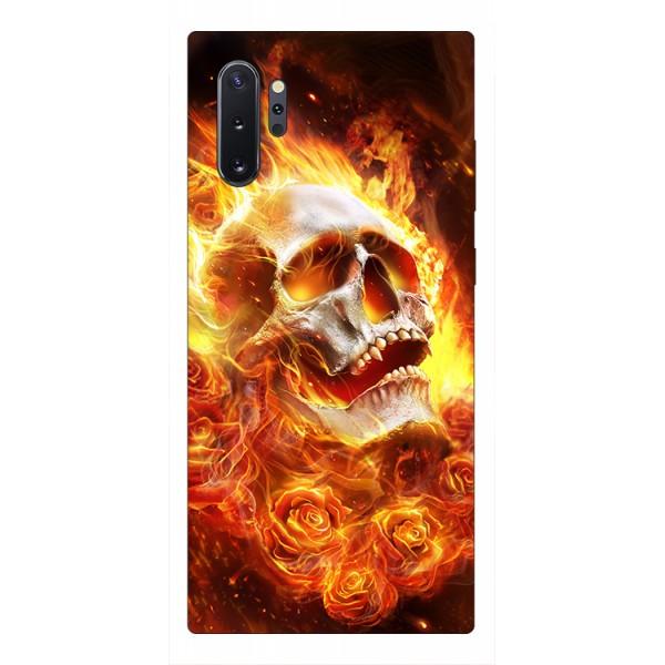 Husa Premium Upzz Print Samsung Galaxy Note 10+ Plus Model Flame Skull imagine itelmobile.ro 2021