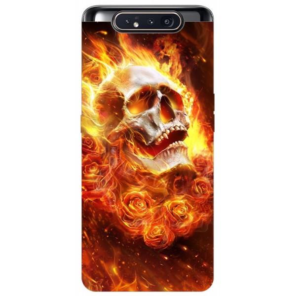 Husa Premium Upzz Print Samsung Galaxy A80 Model Flame Skull imagine itelmobile.ro 2021