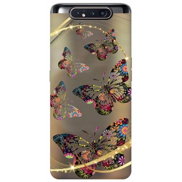 Husa Premium Upzz Print Samsung Galaxy A80 Model Golden Butterfly imagine itelmobile.ro 2021