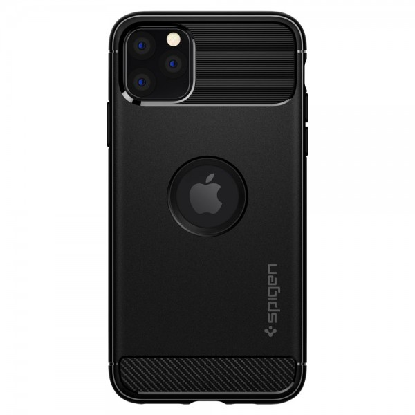 Husa Premium Originala Spigen Rugged Armor iPhone 11 Pro Negru ,silicon imagine itelmobile.ro 2021