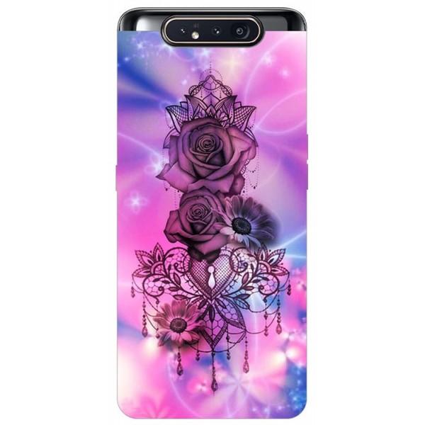 Husa Premium Upzz Print Samsung Galaxy A80 Model Neon Rose imagine itelmobile.ro 2021