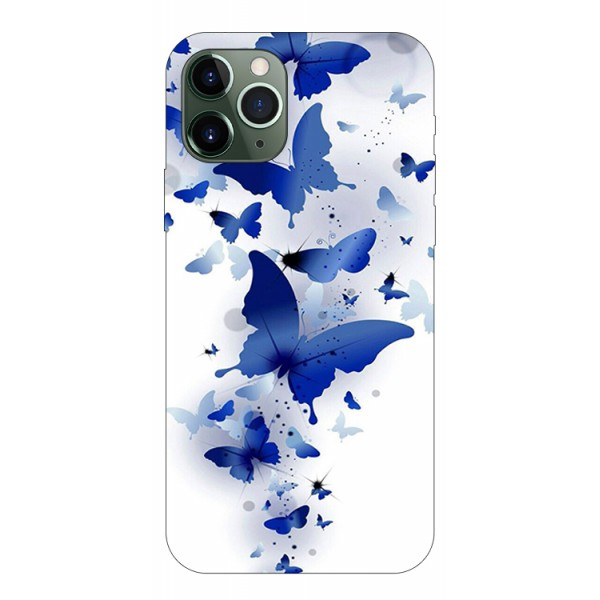 Husa Premium Upzz Print iPhone 11 Pro Model Blue Butterfly imagine itelmobile.ro 2021