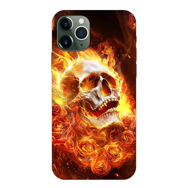 Husa Premium Upzz Print iPhone 11 Pro Model Flame Skull imagine itelmobile.ro 2021