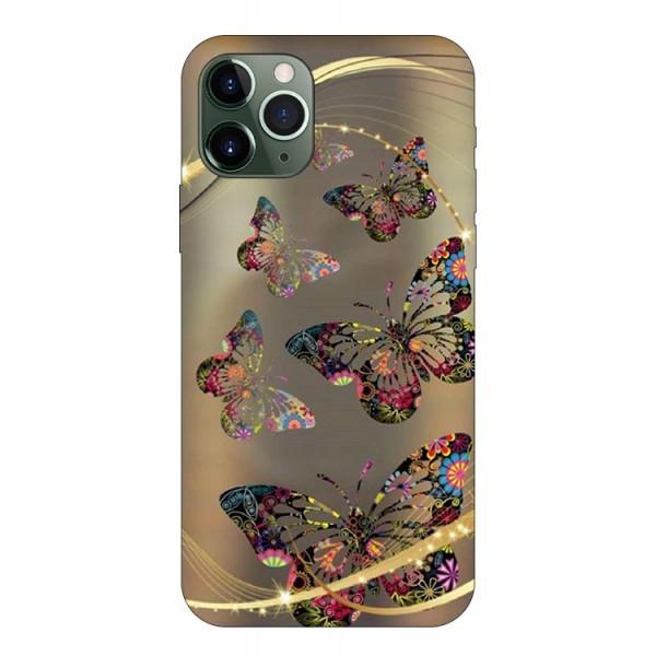 Husa Premium Upzz Print iPhone 11 Pro Max Model Golden Butterfly imagine itelmobile.ro 2021