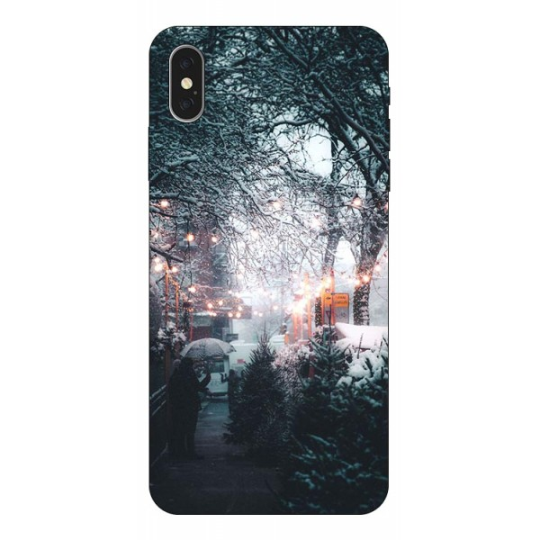 Husa Slim Silicon Upzz X-mass Print iPhone X/xs Model Town imagine itelmobile.ro 2021